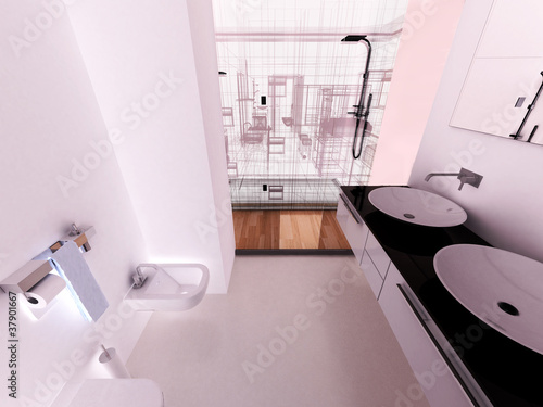 Bagno doccia moderno appartamento rendering 3d interni for Rendering 3d interni gratis