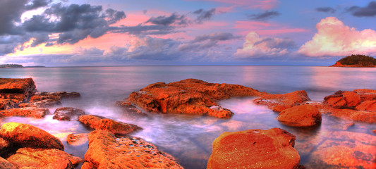Sea stones at sunset - Sydney Australia