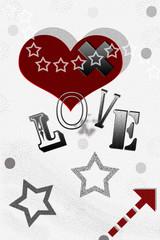 CUORE LOVE AMORE CON FRECCIA E STELLINE