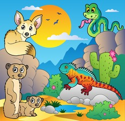 Desert scene with various animals 4
