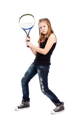 Girl with racket playing tennis