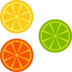 orange, lime, lemon