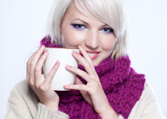 woman with cup of tee