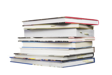 stack of modern books isolated on white background
