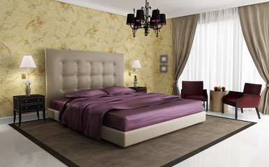 Chic luxury hotel purple gold bedroom, with chandelier