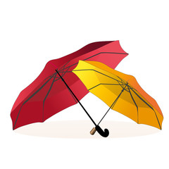 Two umbrellas - dark red and yellow