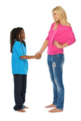 rasta boy shaking hands with his friend