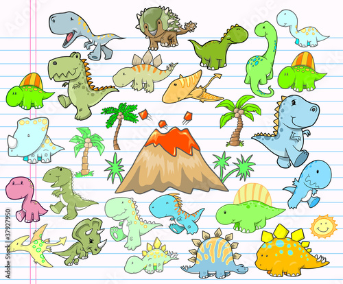Cute Dinosaur Design Elements Vector Set