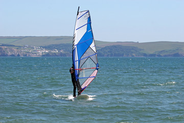 windsurfer in Bigbury bay