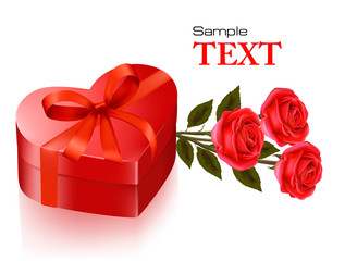 Background with red gift box with bow and ribbons.