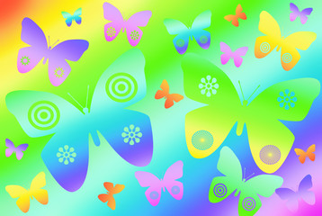 colorful butterflies on rainbow background