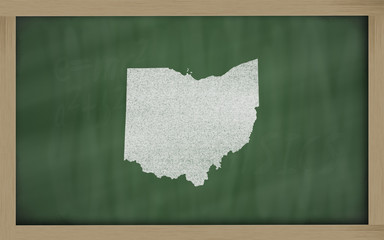 outline map of ohio on blackboard