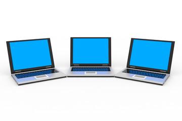 Laptops isolated on white.
