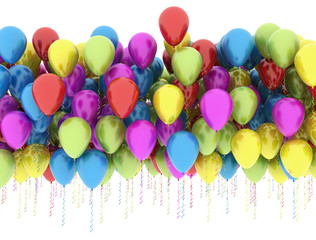 Multi color balloons isolated on white background