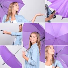 Collage of pretty girl with purple umbrella