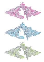 Vignette . Portrait of the flower fairy