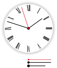 Clock face classic. Illustration of a classic clock face, dial, as part of an analog clock, watch, with black and red pointers. Isolated on white background. Vector.