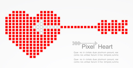 Pixel heart with cupid arrow