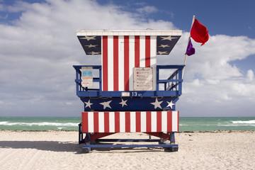 lifeguard house in Miami Beach, Florida