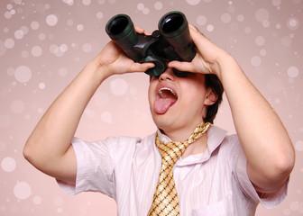 Crazy men with binocular