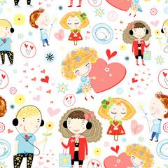 seamless pattern of children in love