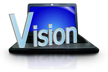 """The word """"Vision"""" on notebook or laptop computer"""