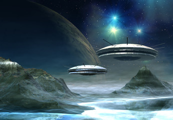 Alien World - Fantasy Planet with UFO's