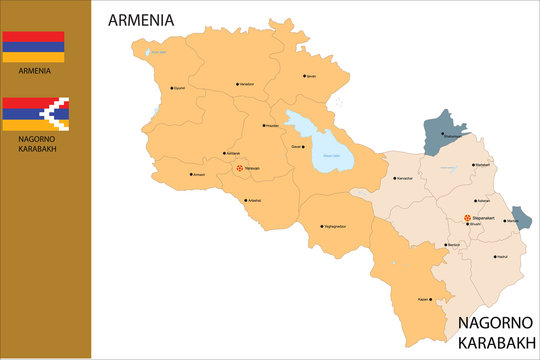 Political map of Armenia country.