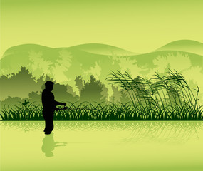 fisherman in green landscape