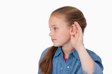 Cute girl pricking up her ear