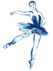 Blue ballerina, drawing gouache