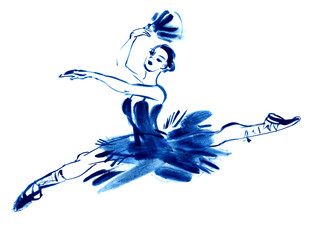 Blue ballerina, drawing gouache, hand-drawn
