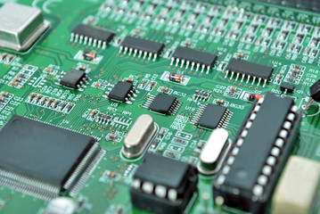 Electronic system board close up