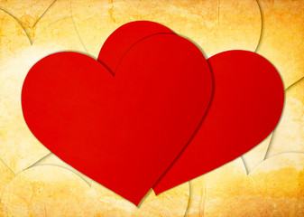 two red paper hearts