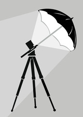 tripod silhouette on gray background