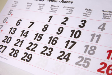 Kalender 2012 mit Monatszahlen