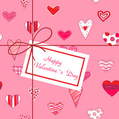 Valentines greeting card with hearts and label.