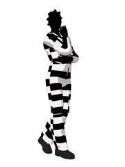 Afrcian American Female Criminal Silhouette Illustration