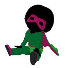Little Super Hero Girl Illustration Silhouette