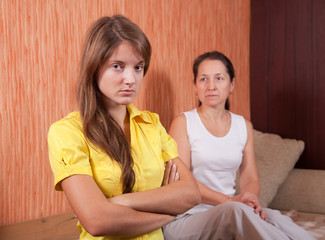 mother and teenager daughter after quarrel