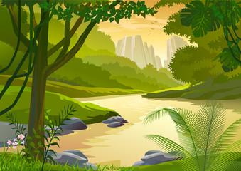 In de dag Fantasie Landschap TROPICAL RAIN FOREST TREES AND FRESH WATER STREAM