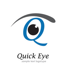 Logo letter Q, with eye # Vector