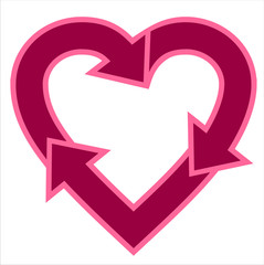Heart-shaped recycle logo