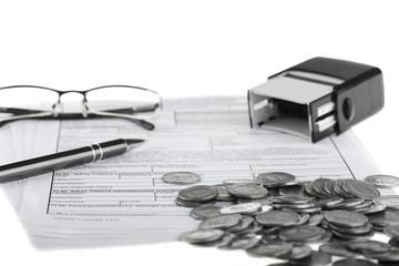 Obraz Dokumenty firmowe i artykuły biurowe. Rachunki i biznes - fototapety do salonu