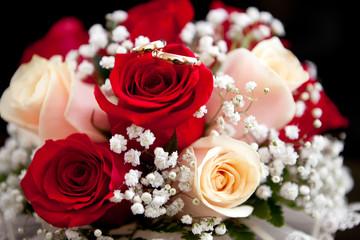 Gold wedding ring on flower
