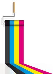 rouleau de peinture, _4 couleurs