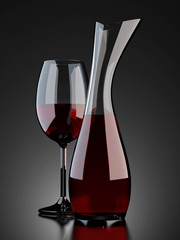 rotwein glas und karaffe