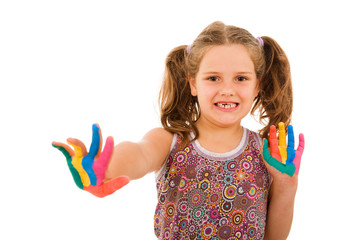 Happy little child with painted hands, isolated on white