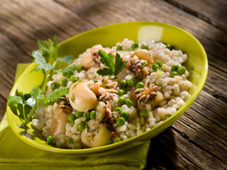 barley risotto with sepia and beans