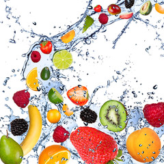 Wall Mural - Fruits falling in water splash, isolated on white background